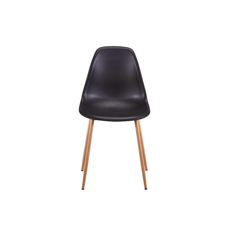 lot de 2 chaises scandinaves assise en polypropyl ne avec bois m tal imitation bois sajuco. Black Bedroom Furniture Sets. Home Design Ideas