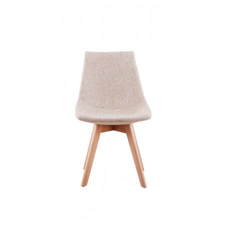 chaise scandinave en tissu chin et bois massif - Chaise Scandinave Beige