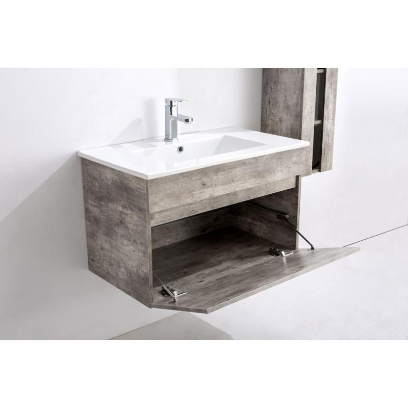 Meuble salle de bain simple vasque en bois sajuco - Meuble sdb simple vasque ...