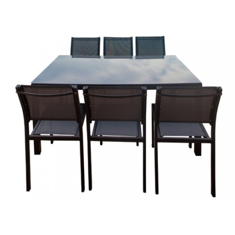 Table en aluminium 160 cm + 6 chaises