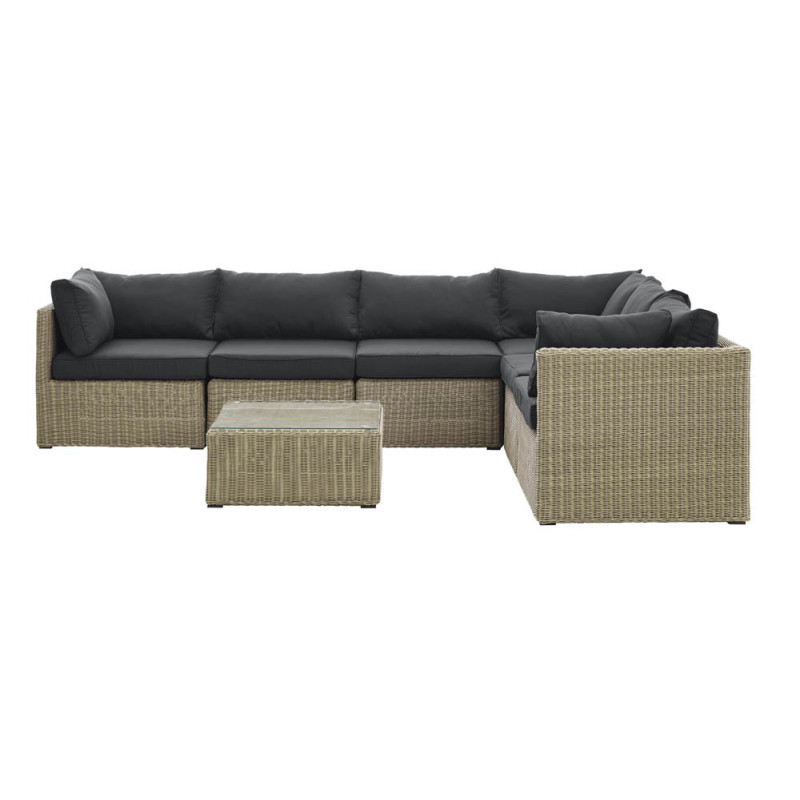 Salon de jardin avec canapé d\'angle - Sajuco