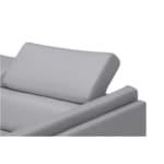 LULU - Canapé d'angle fixe avec tétières en tissu et pieds métal