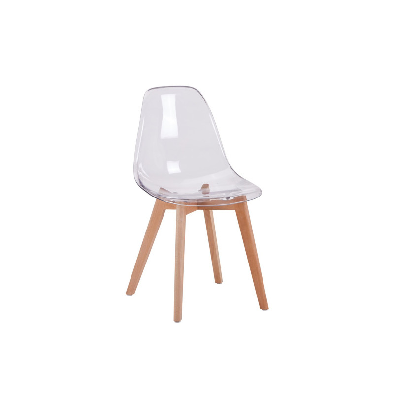 Chaise scandinave assise transparente