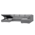 ARIA - Canapé d'angle panoramique convertible avec coffre en tissu