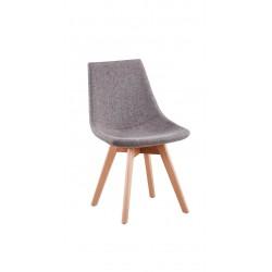 Chaise scandinave en tissu chiné et bois massif
