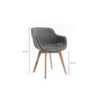 A8401 - Lot de 2 chaises accoudoirs à rayures en tissu avec pieds en hêtre naturel