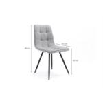 A8113 - Lot de 2 chaises quadrillées en tissu avec pieds en métal noir