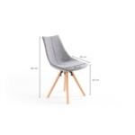 A8305 - Lot de 2 chaises en tissu avec pieds en hêtre naturel