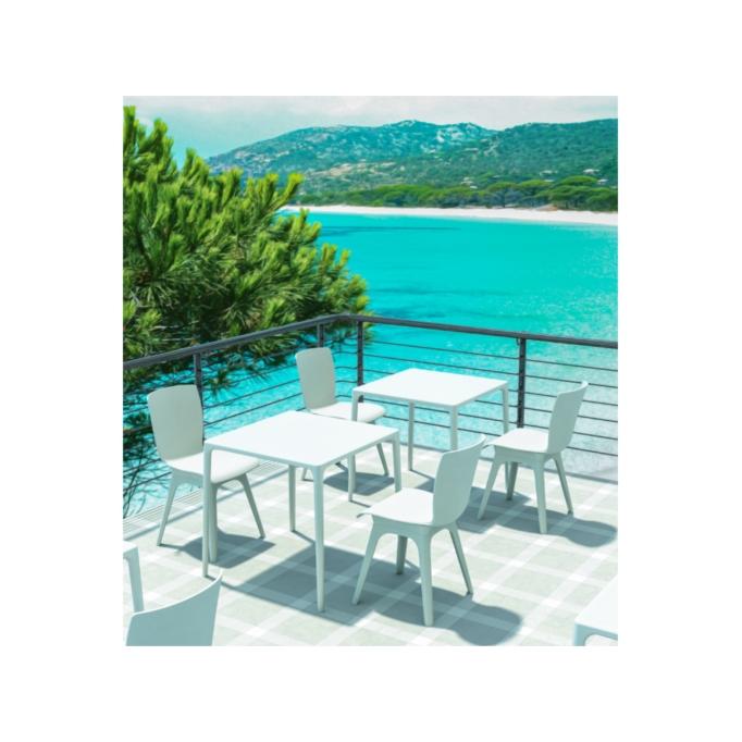 GOZA - Table carrée 80 cm en polypropylène pour l'intérieur et l'extérieur