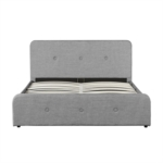 1491G - Cadre de lit avec tête de lit, sommier à lattes et coffre de rangement en tissu