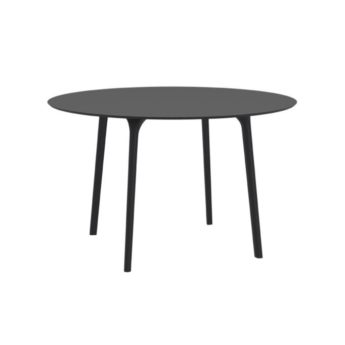 MAYLI - Table ronde 120 cm plateau stratifié HPL pour l'intérieur et l'extérieur
