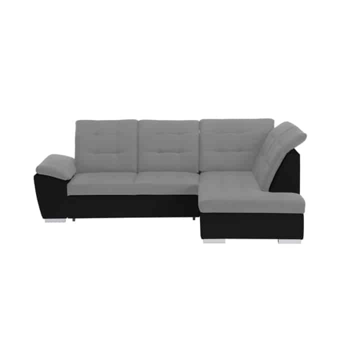 LIDIA - Canapé d'angle convertible avec coffre et tetières en simili et tissu