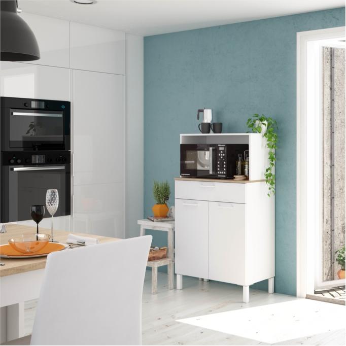 Buffet de cuisine 2 portes et 1 tiroir L72 x H126 cm