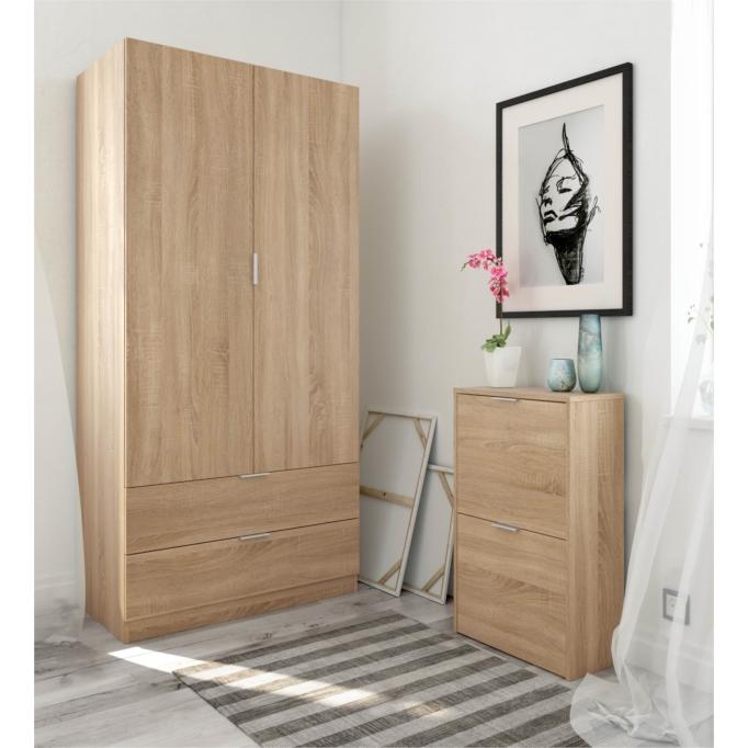 Armoire penderie 2 portes + 2 tiroirs L81 x H180 cm