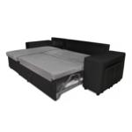 L200PAC - Canapé d'angle convertible coffre pouf et étagère en simili et microfibre