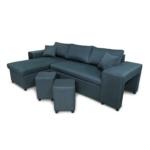 L200PAC - Canapé d'angle convertible coffre pouf et étagère en tissu