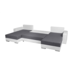 KENZA - Canapé d'angle réversible et convertible en tissu et simili