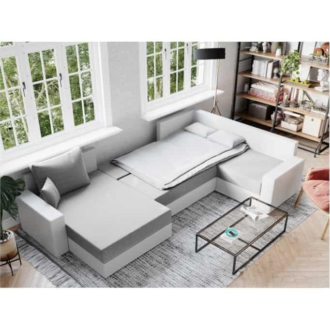 STELA - Canapé d'angle panoramique convertible en tissu et simili