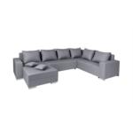 STELA - Canapé d'angle panoramique convertible en tissu