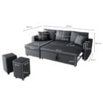 L200POUF - Canapé d'angle réversible, convertible en tissu avec coffre de rangement + 2 poufs