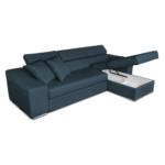 STILO - Canapé d'angle réversible, convertible avec coffre et 2 poufs en tissu