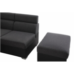 SOFIA - Canapé d'angle convertible en simili et tissu + 1 grand pouf coffre + 2 poufs d'appoints avec coffre