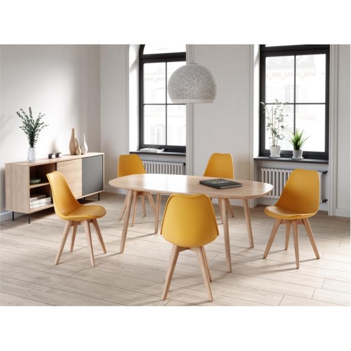 A8026 - Lots de 2 chaises scandinaves en polypropylène coussin simili pieds en bois