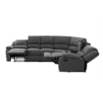 9121L - Canapé d'angle de relaxation 5 places avec accoudoir porte-gobelet modulable et amovible en tissu