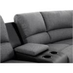 9121L - Canapé d'angle de relaxation 5 places avec accoudoir porte-gobelet modulable et amovible en tissu et simili
