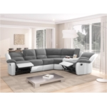 9121L - Canapé d'angle de relaxation 5 places avec accoudoir porte-gobelet modulable et amovible en microfibre et simili