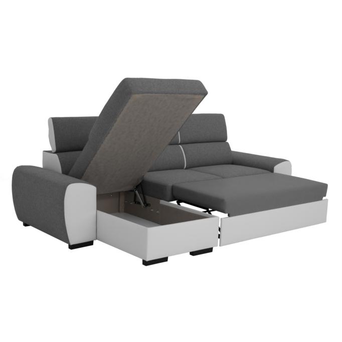 ALI - Canapé d'angle réversible convertible avec tétières et coffre en PU