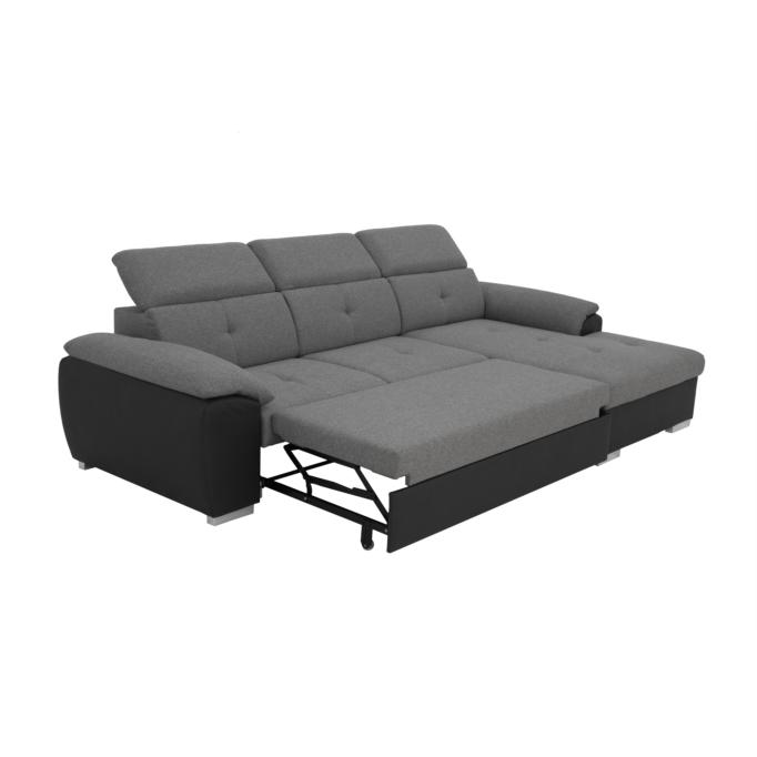 KADY - Canapé d'angle fixe convertible avec coffre et tétières en PU et tissu