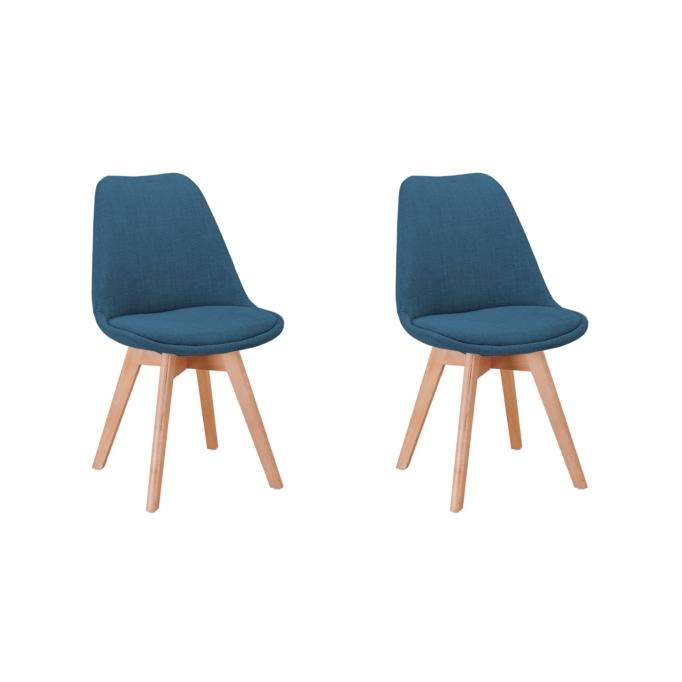 A8027 - Lot de 2 chaises tissu pieds hêtre naturels