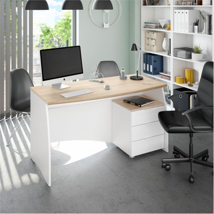 Bureau avec caisson de 3 tiroirs L 136cm