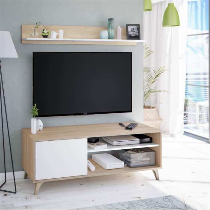 Meuble TV 2 niches et 1 porte avec son étagère murale
