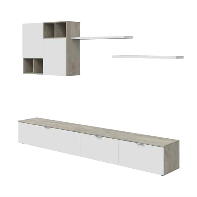 Ensemble TV mural 2 meubles bas, 2 étagères et un meuble haut