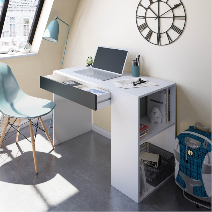 Bureau avec tiroir et fonction étagère intégrée blanc et gris