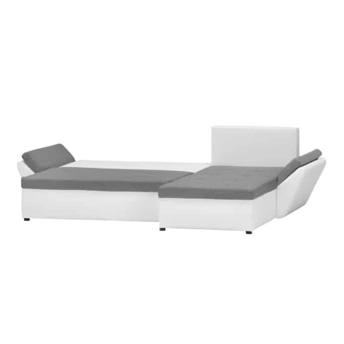 ALIX - Canapé d'angle réversible et convertible en tissu et simili avec coffre de rangement