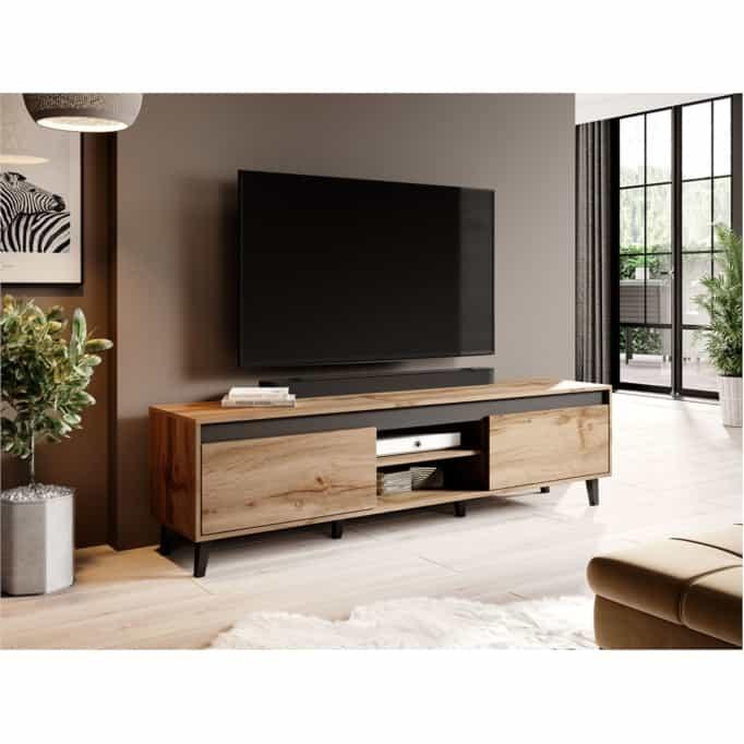 MILOR - Meuble TV  2 portes et 2 niches 170 cm