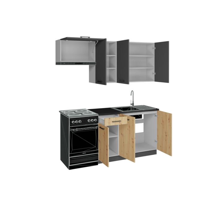 BLAIR - Cuisine 2 éléments bas et 3 éléments hauts 180 cm