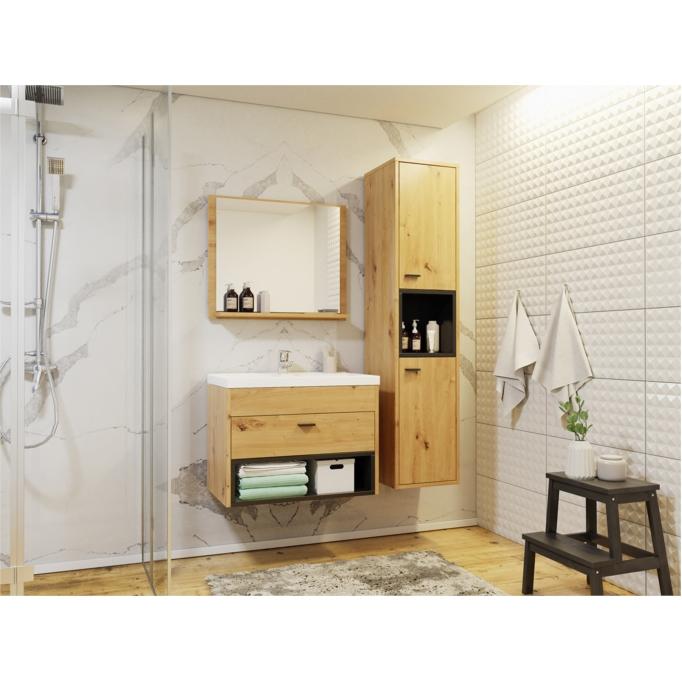 OLIE - Ensemble de salle de bain avec 1 colonne et 1 miroir