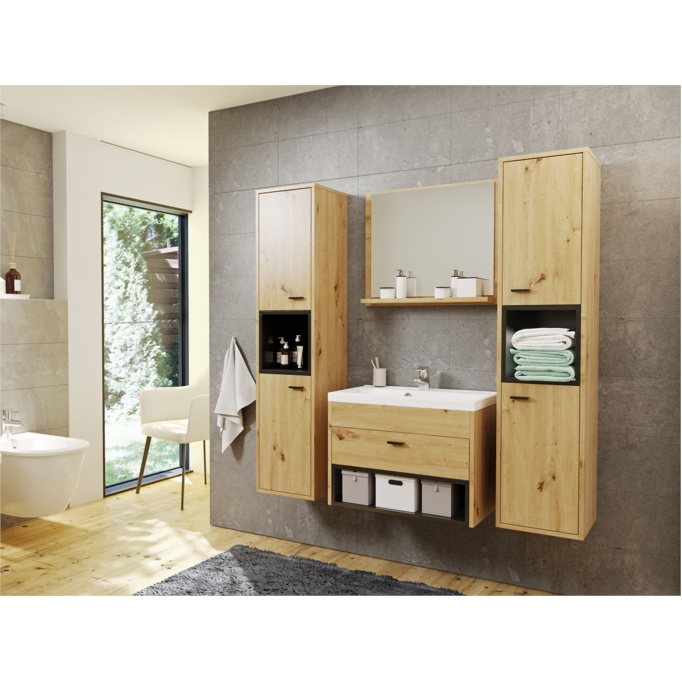OLIE - Ensemble de salle de bain avec 2 colonnes et 1 miroir