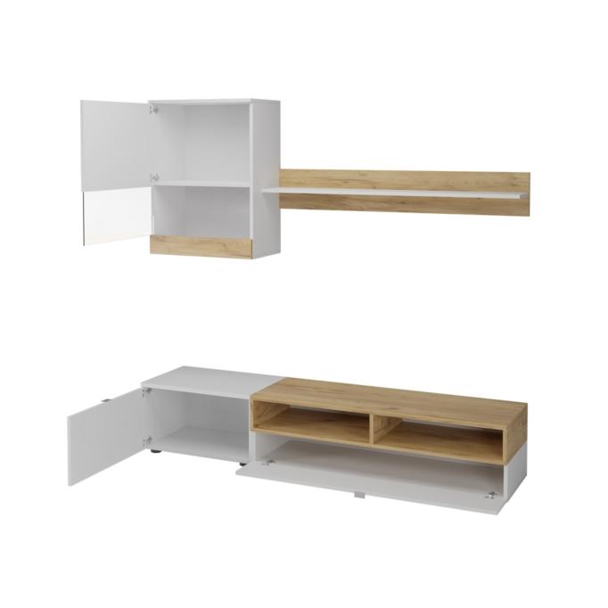 ROMY - Meuble TV 2 portes avec étagère et colonne murale