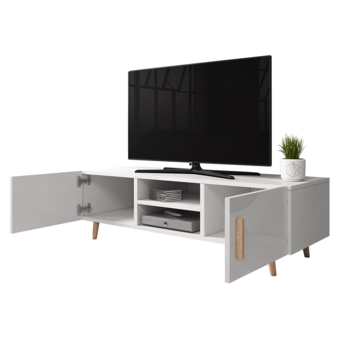 SWEED - Meuble TV 2 portes et 2 niches