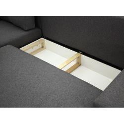 Canapé d'angle réversible, convertible en tissu et pieds bois noir avec coffre