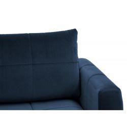 Canapé d'angle réversible, convertible en  velours et pieds bois clair avec coffre