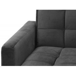 Canapé d'angle réversible, convertible avec coffre en velours et pieds bois clair