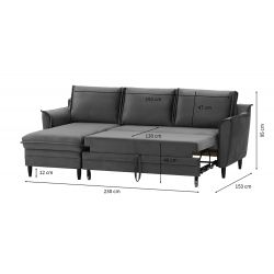 Canapé d'angle réversible, convertible avec coffre en velours et pieds noirs