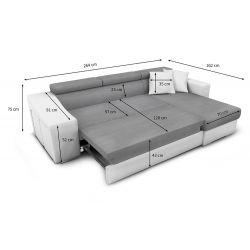 Canapé d'angle réversible, convertible avec coffre et 2 poufs en microfibre et simili