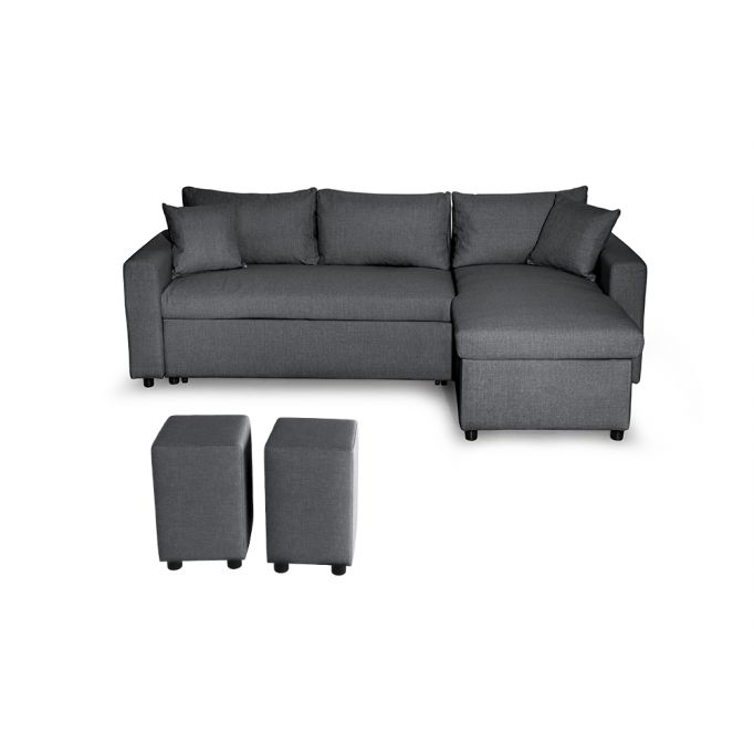 Canapé d'angle réversible, convertible en tissu avec coffre de rangement + 2 poufs